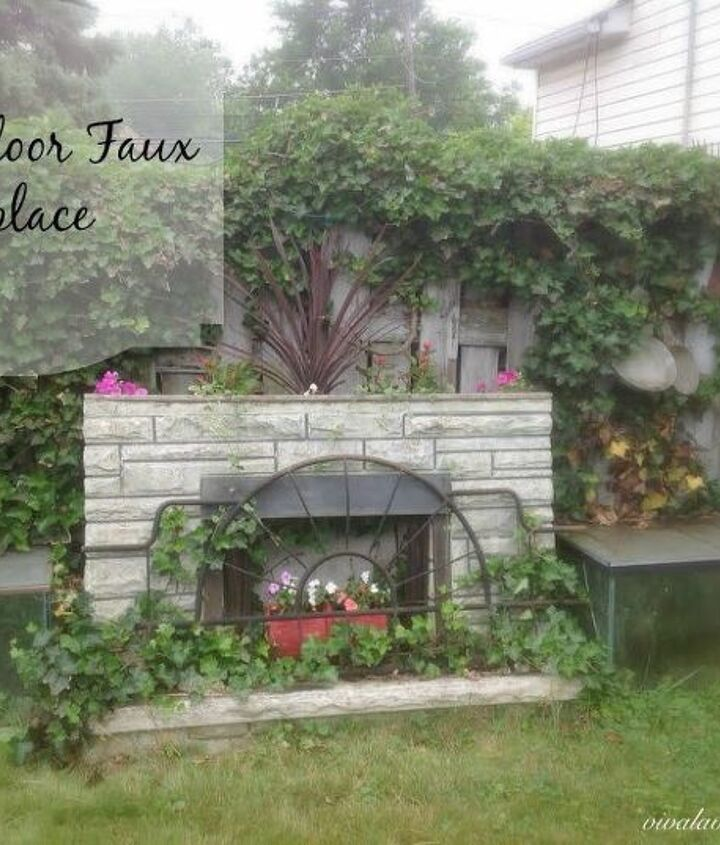 garden faux fireplace, outdoor living