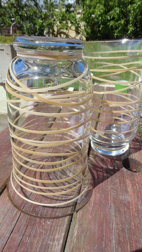 update an old glass container using spray paint and rubber bands, crafts, how to, repurposing upcycling