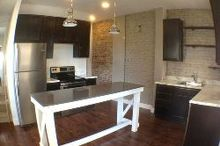 before after 70s kitchen makeover in a 1920 home, concrete masonry, countertops, diy, kitchen design, kitchen island
