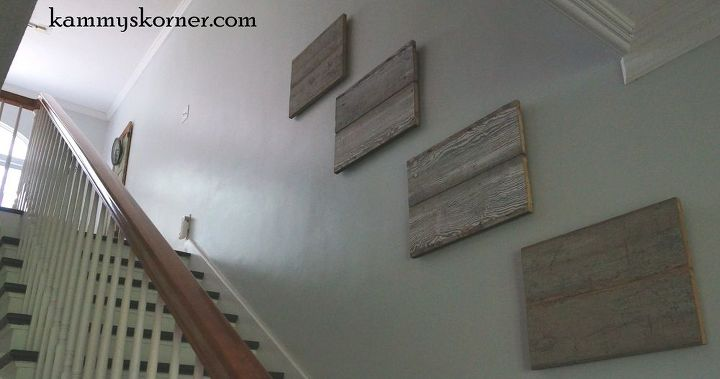 reclaimed wood photo display, repurposing upcycling, stairs, wall decor