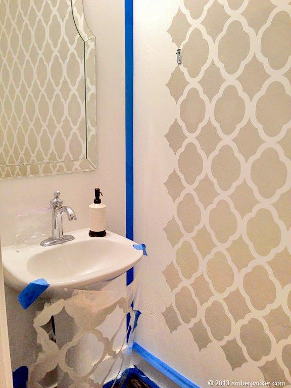 Wall Stenciling In A Powder Room Hometalk