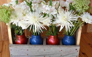 diy rustic tool box caddy centerpiece, container gardening, flowers, gardening, mason jars, repurposing upcycling