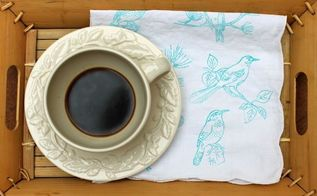 stamped tea towels, crafts, dining room ideas, how to