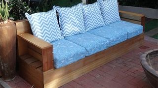 , Made my own outdoor sofa and upholstered cushions on