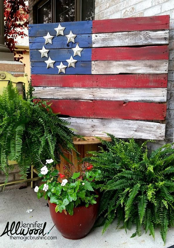 patriotic pallet flags with a twist, how to, pallet, patriotic decor ideas, repurposing upcycling, seasonal holiday decor