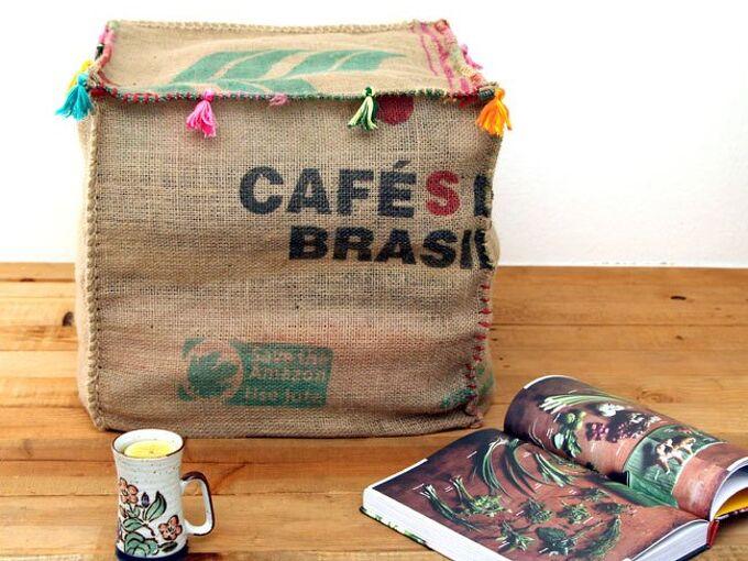 diy burlap coffee bean sack ottoman, how to, painted furniture, repurposing upcycling, reupholster