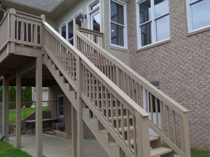 How to repair your deck railing and stairs hometalk for Diy decks for mobile homes