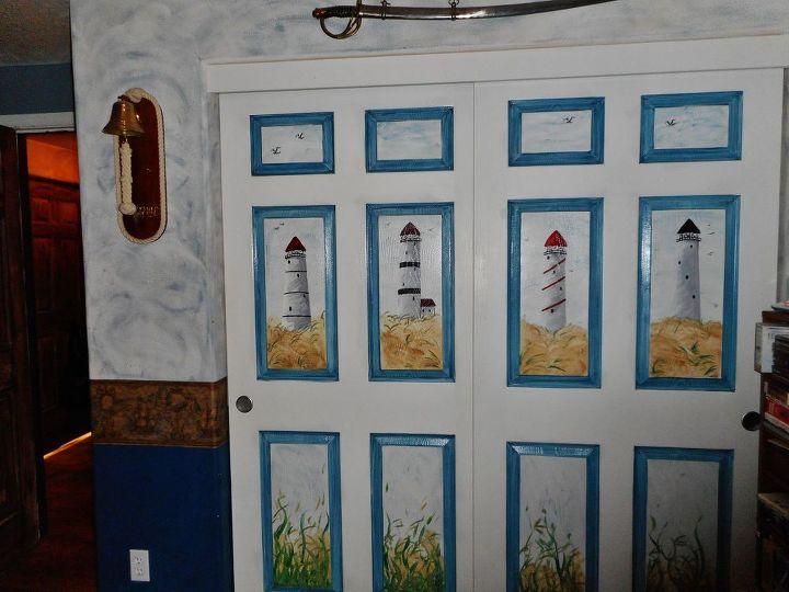 painted closet doors in husband s den, closet, doors, painting