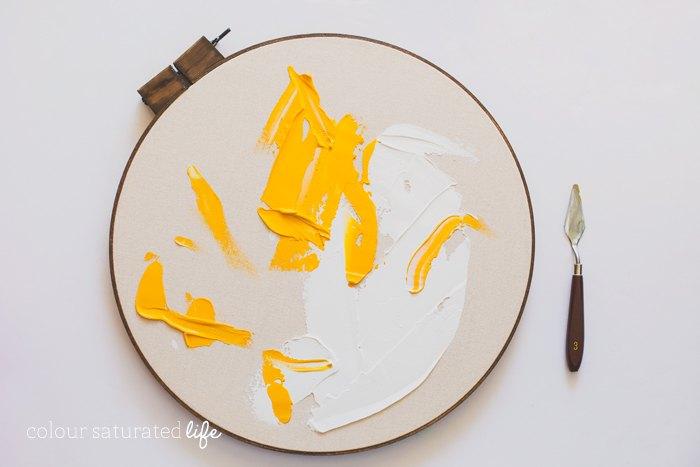 DIY Repurposed Embroidery Hoop to Modern Wall Art   Hometalk