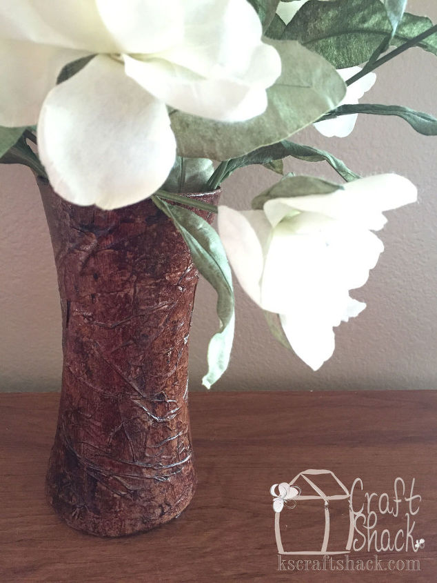 decoupaged brown paper bags on flower vases, crafts, decoupage, flowers, home decor, how to, repurposing upcycling
