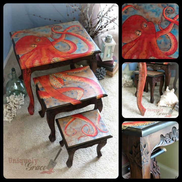 three nesting tables with octopus design, painted furniture