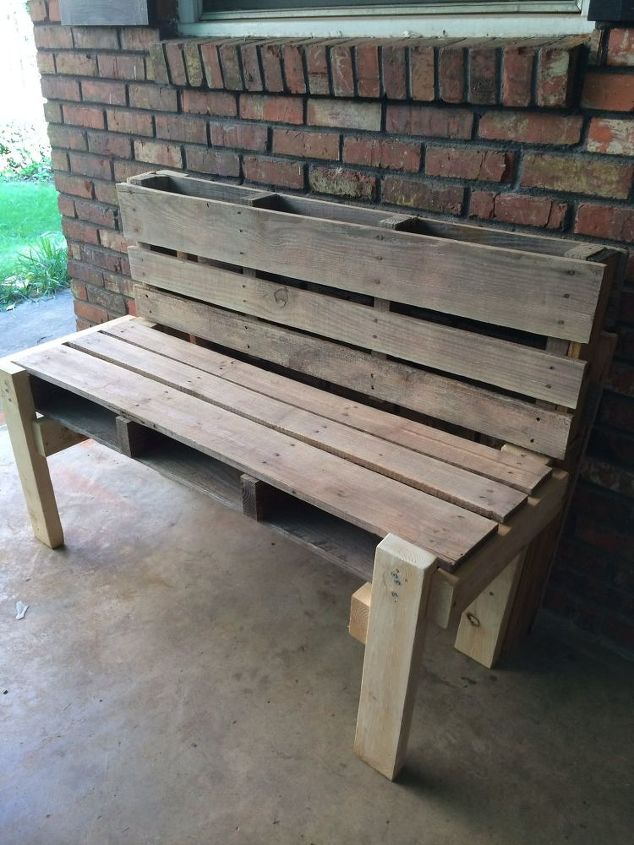 refurbished pallet to outdoor bench, how to, outdoor furniture, pallet, repurposing upcycling