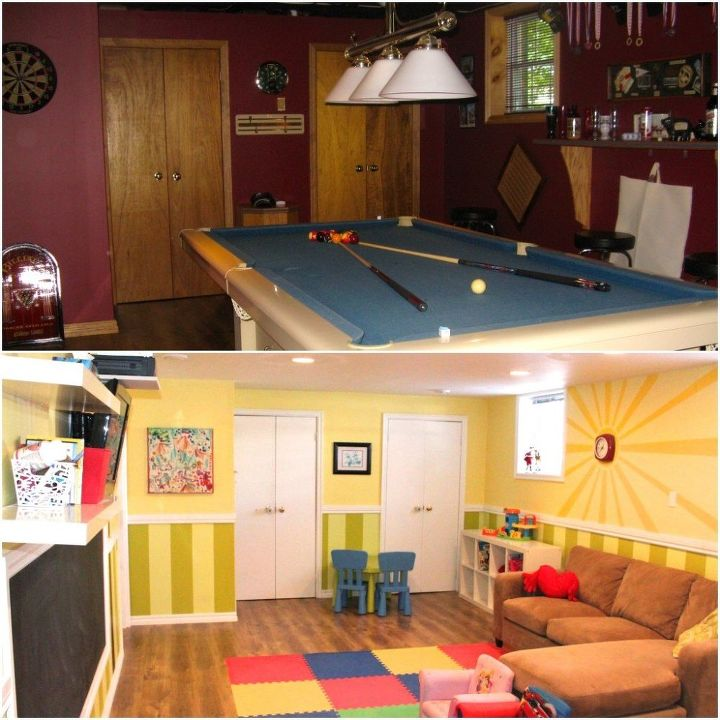 playroom makeover before after, entertainment rec rooms