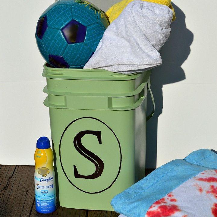 repurposed plastic container to diy pool storage, repurposing upcycling, storage ideas