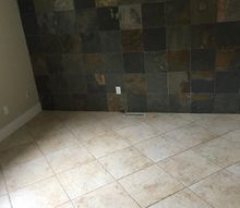 q mismatche slate tile wall and tile floor, home improvement, tile flooring, tiling, wall decor