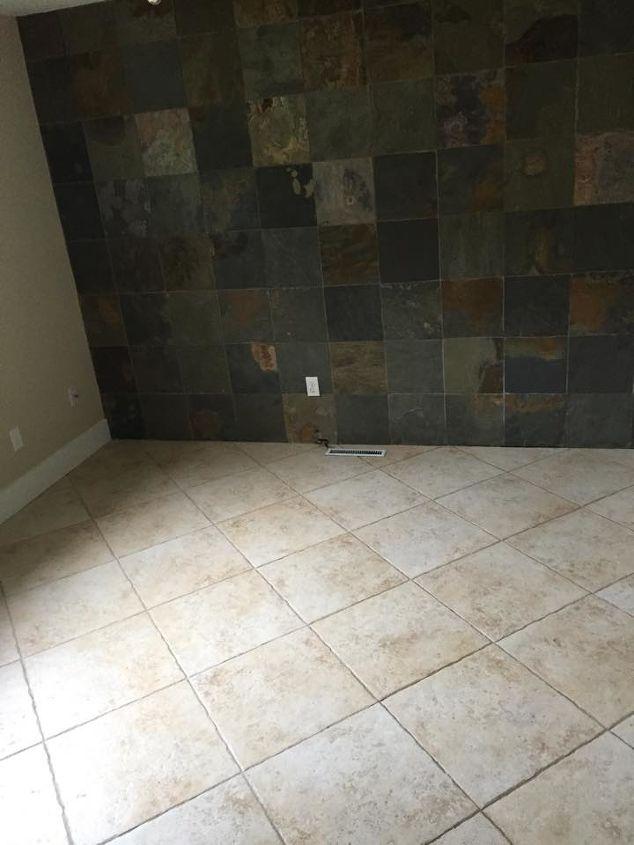q mismatche slate tile wall and tile floor, home improvement, tile flooring, tiling, wall decor
