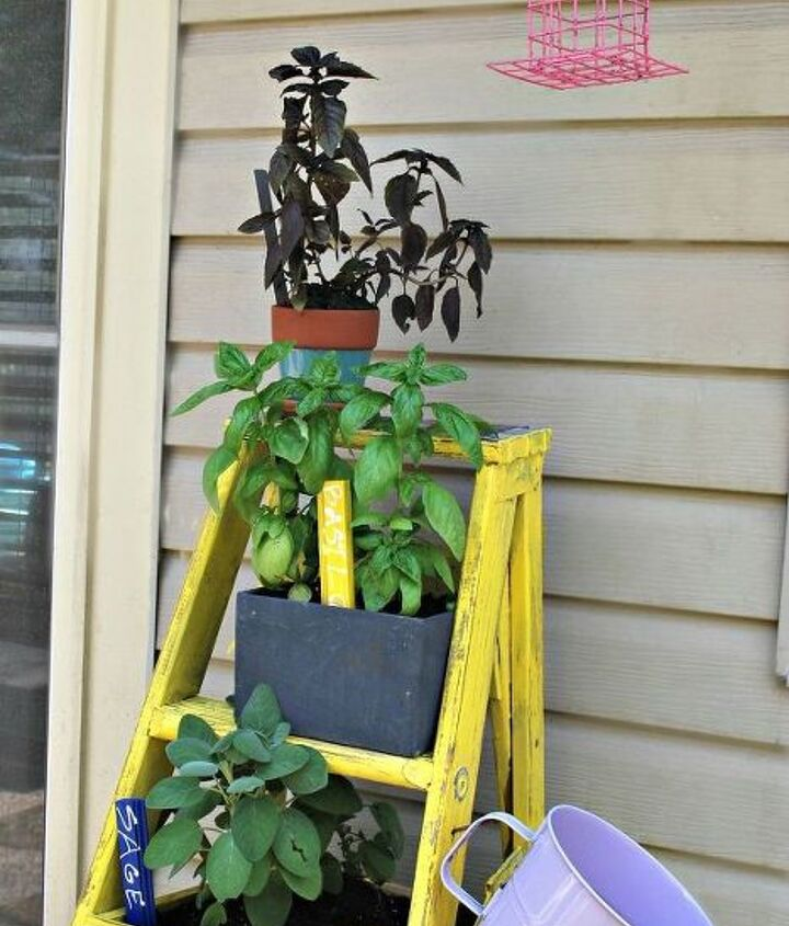 how to make a ladder planter, container gardening, gardening, how to, repurposing upcycling