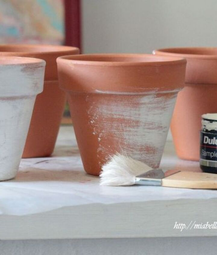 distressed stamped d cor pots, crafts, how to