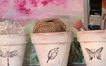 Distressed Stamped Décor Pots...