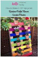 diy upcycled pallet rainbow flower garden, container gardening, flowers, gardening, pallet, repurposing upcycling, DIY Upcycled Pallet Rainbow Flower Garden