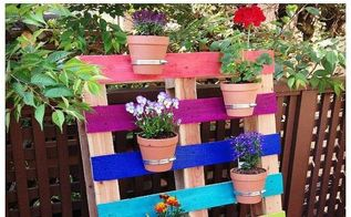 diy upcycled pallet rainbow flower garden, container gardening, flowers, gardening, pallet, repurposing upcycling, DIY Upcycled Pallet Rainbow Flower Garden