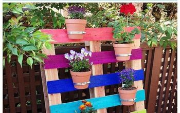 DIY Upcycled Pallet Rainbow Flower Garden