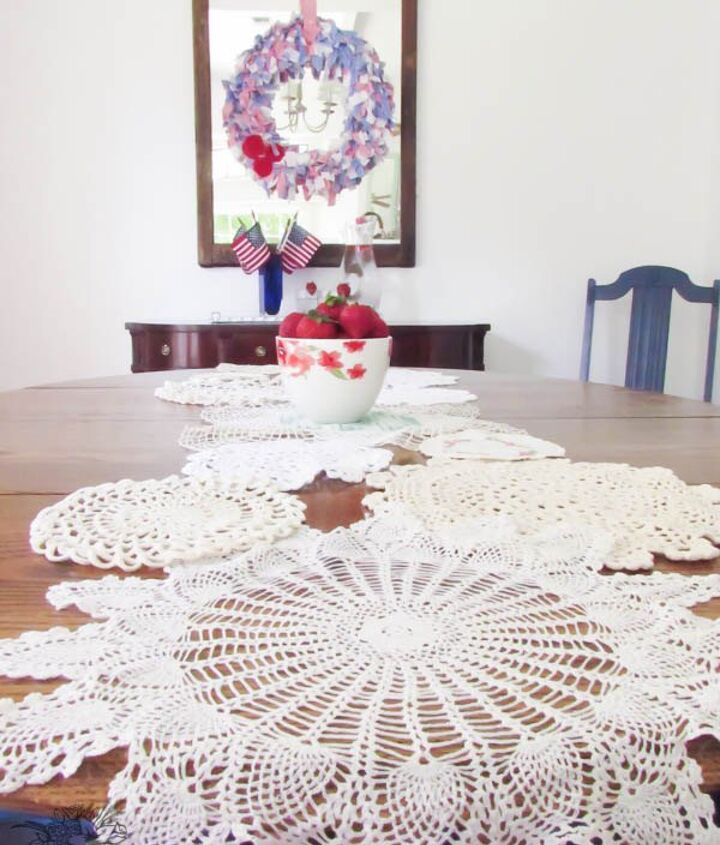 diy vintage doily table runner, crafts, dining room ideas, how to, repurposing upcycling