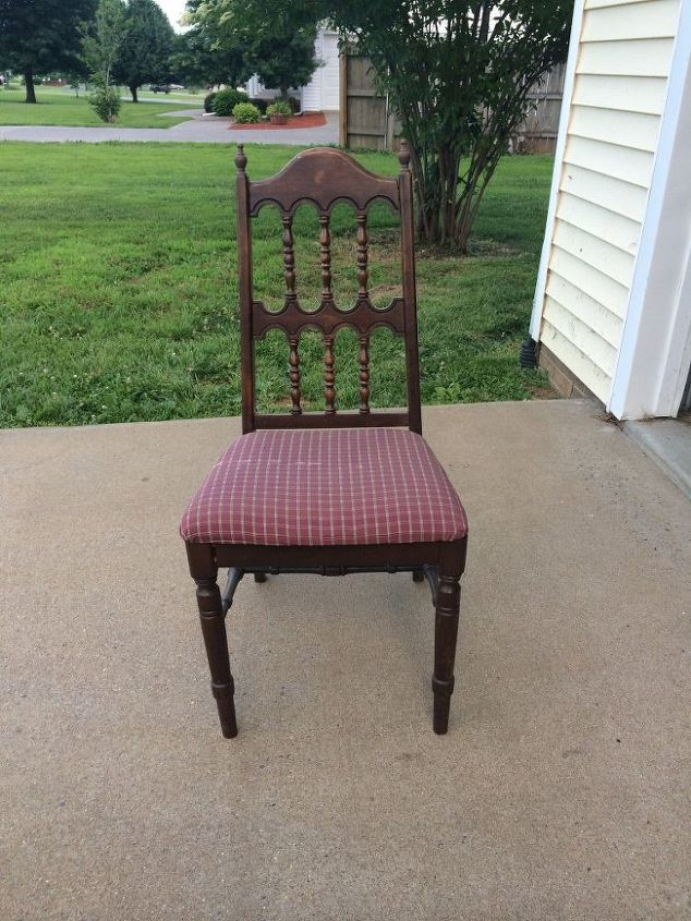 reuphostered and upcycled wood chair, chalk paint, painted furniture, reupholster, BEFORE