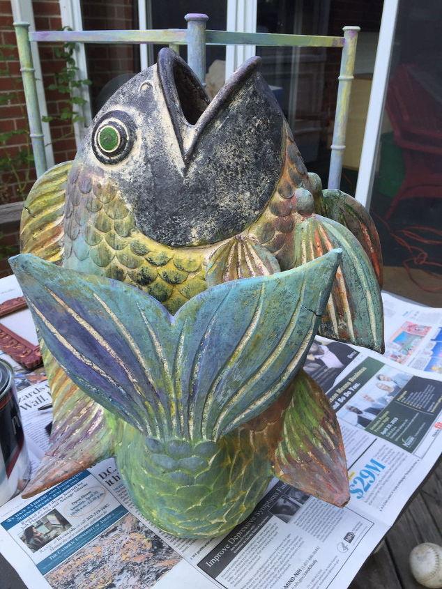 painted fish umbrella stand, crafts, organizing
