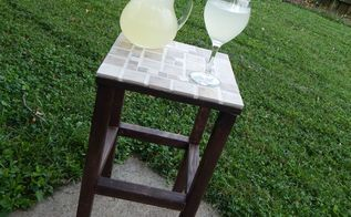 diy tiled end table, how to, outdoor furniture, painted furniture, repurposing upcycling, tiling