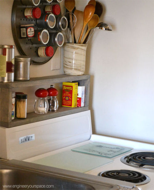 extra storage in a small kitchen diy shelf above the stove hometalk