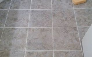 bathroom floor update for 30 budget and renter friendly, bathroom ideas, flooring, tile flooring, tiling, Working on the grout