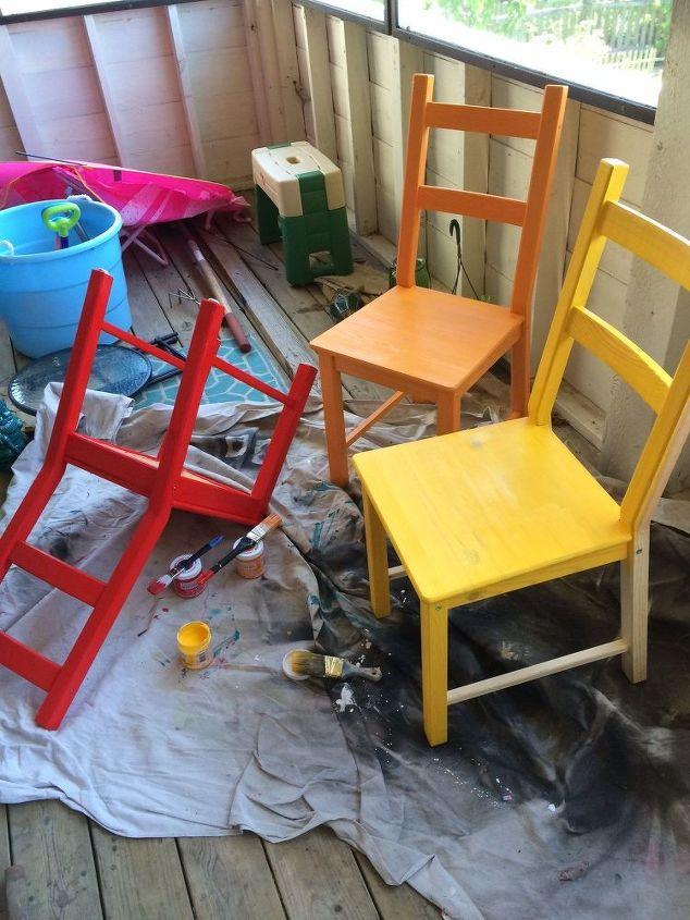 rainbow painted kitchen set, kitchen design, painted furniture