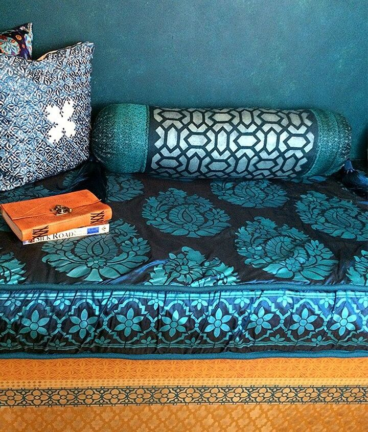 moroccan pillow decor with stencils and beads, crafts, how to, reupholster