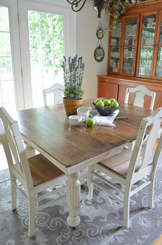 chalk paint grandma s antique dining table and chairs hometalk
