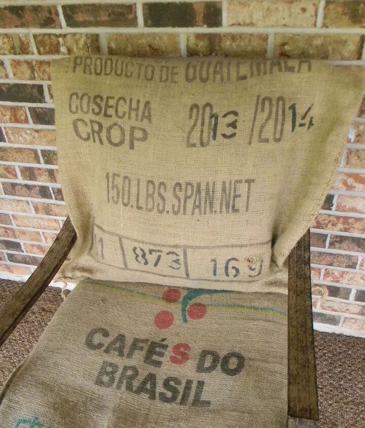 no sew burlap sack cushion covers, how to, outdoor furniture, outdoor living, repurposing upcycling, reupholster