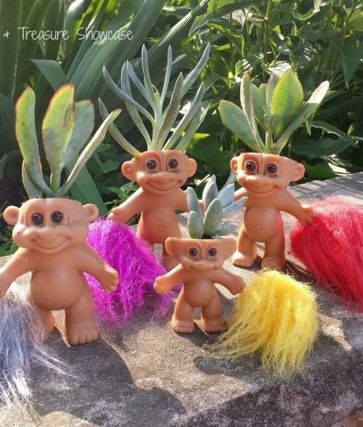 nostalgic troll succulent planters, container gardening, repurposing upcycling, succulents