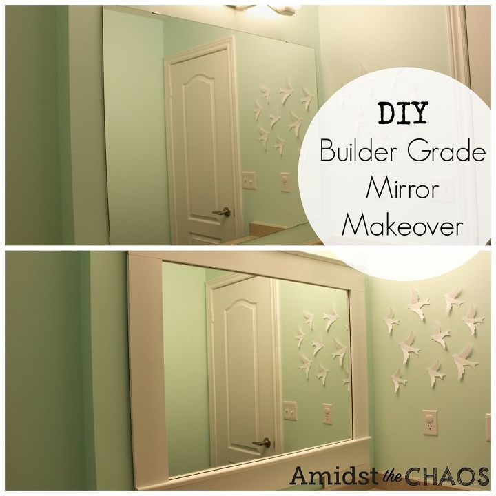 DIY Builder Grade Bathroom Mirror Makeover