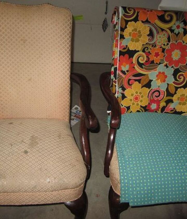 reupholstered chairs, painted furniture, repurposing upcycling, reupholster