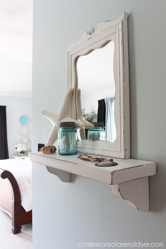 cottage inspired mirror with shelf, home decor, shelving ideas