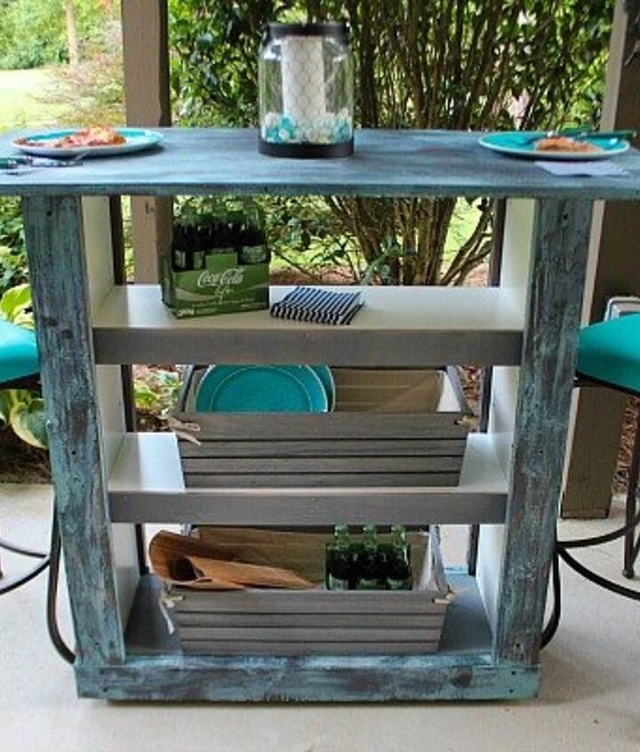 ikea billy bookcase hack to outdoor bar table, how to, outdoor living, painted furniture, pallet, repurposing upcycling, storage ideas