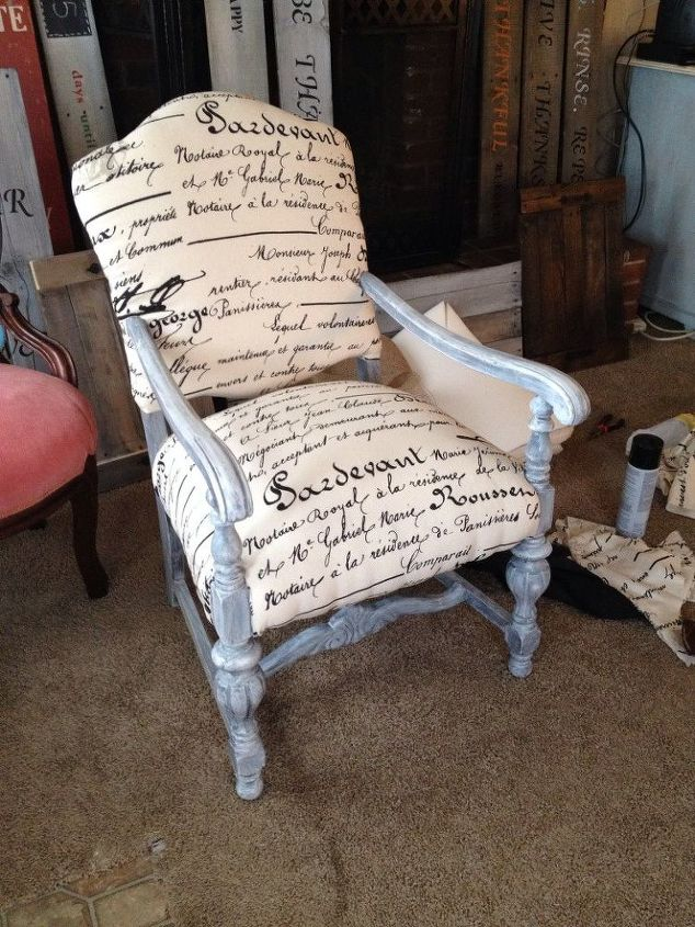 Repainted And Reupholstered Wood Chairs Hometalk - Reupholster chairs