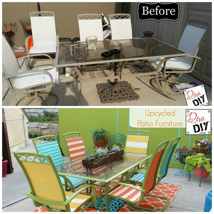 faded outdated patio gets a makeover, outdoor furniture, outdoor living, painted furniture, repurposing upcycling