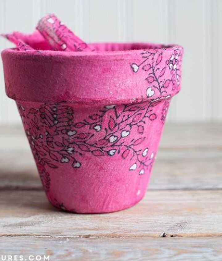 upcycled scarf to decoupaged planter, container gardening, crafts, decoupage, gardening, how to, repurposing upcycling