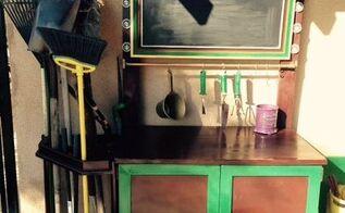 starbucks themed gardening storage center, gardening, outdoor furniture, repurposing upcycling