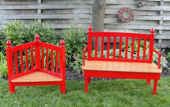 Red Adult Bench With Child Seat Headboard Foot Board Set