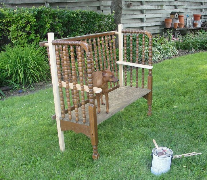 Remarkable Two Garden Benches Made Using A Jenny Lind Crib Hometalk Ocoug Best Dining Table And Chair Ideas Images Ocougorg