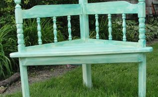 corner bench made using a wood bed headboard, outdoor furniture, painted furniture, repurposing upcycling