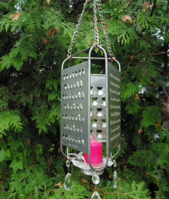 repurposed vintage cheese graters lantern, gardening, lighting, outdoor living, repurposing upcycling