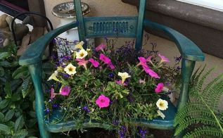 repurposed chair to garden planter, container gardening, gardening, repurposing upcycling